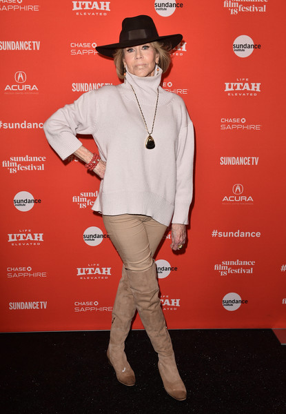 Jane Fonda teamed a white turtleneck with a pair of khakis for the Sundance premiere of 'Jane Fonda in Five Acts.'