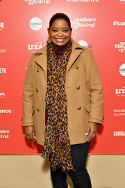 Octavia Spencer sported a classic camel-colored pea coat at the Power of Story panel during Sundance.