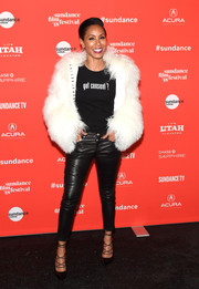 Jada Pinkett Smith topped off her fab outfit with a fuzzy fur jacket.
