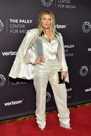Fergie teamed her suit with a sheer button-down shirt.