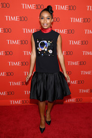 Yara Shahidi went playful in a cosmic-beaded, drop-waist LBD by Reem Acra at the 2018 Time 100 Gala.