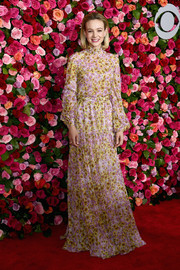 Carey Mulligan went for demure elegance in a long-sleeve floral blouse by Giambattista Valli at the 2018 Tony Awards.