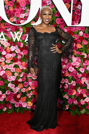Cynthia Erivo looked supremely elegant in a vintage black lace gown with fringe detailing at the 2018 Tony Awards.