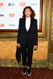 Susan Sarandon attended the TIFF premiere of 'The Death and Life of John F. Donovan' sporting a black three-piece suit.