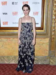 Claire Foy looked enchanting in a midnight-blue Miu Miu gown with Swarovski star embellishments at the TIFF premiere of 'First Man.'