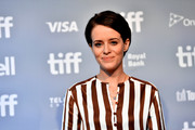 Claire Foy kept it simple with this short side-parted style at the TIFF press conference for 'First Man.'