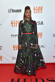 Issa Rae looked enchanting in a floral-embroidered ball gown by Oscar de la Renta at the TIFF premiere of 'The Hate U Give.'
