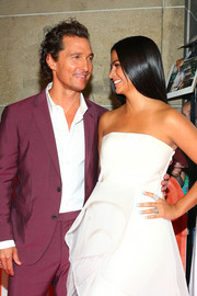 Camila Alves teamed her strapless gown with a pair of statement diamond rings for the TIFF premiere of 'White Boy Rick.'