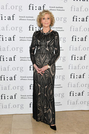 Jane Fonda attended the 2018 Trophée des Arts Gala wearing a patterned black column dress.