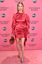Whitney Port looked ladylike in a draped strawberry-red cocktail dress by Magda Butrym at the 2018 Victoria's Secret fashion show.