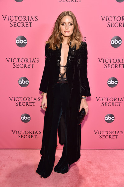 More Pics of Olivia Palermo Pantsuit (1 of 1) - Olivia Palermo Lookbook - StyleBistro [flooring,fashion model,fashion,carpet,outerwear,formal wear,long hair,red carpet,magenta,suit,pink carpet arrivals,olivia palermo,new york,pier 94,victorias secret fashion show]