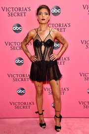 Halsey looked coquettish in a sheer LBD by Julien Macdonald at the 2018 Victoria's Secret fashion show.