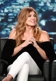 Connie Britton was boho in a black off-the-shoulder top at the 2018 Winter TCA Tour.