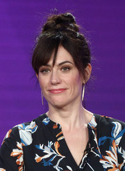 Maggie Siff sported a casual top knot at the 2018 Winter TCA Tour.