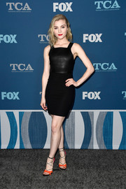 Skyler Samuels styled her dress with a pair of orange, black, and pink lace-up heels by Casadei.