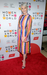 Maye Musk looked vibrant in a multicolored striped dress at the 2018 Women in the World Summit.