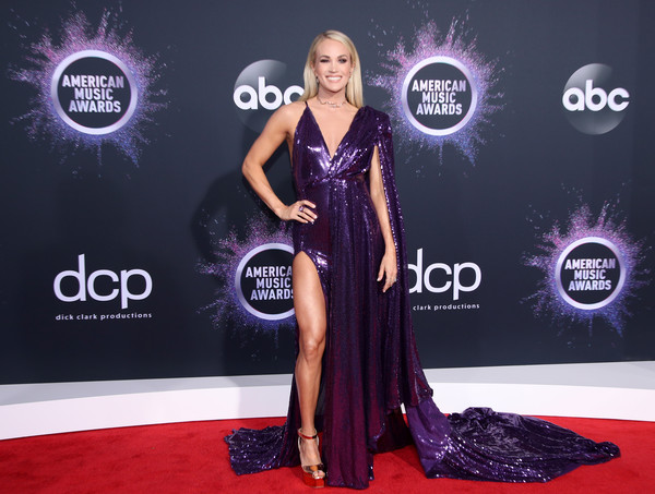 More Pics of Carrie Underwood Platform Sandals (1 of 10) - Heels Lookbook - StyleBistro [red carpet,carpet,clothing,dress,fashion,flooring,premiere,event,muscle,magenta,arrivals,carrie underwood,american music awards,microsoft theater,los angeles,california]