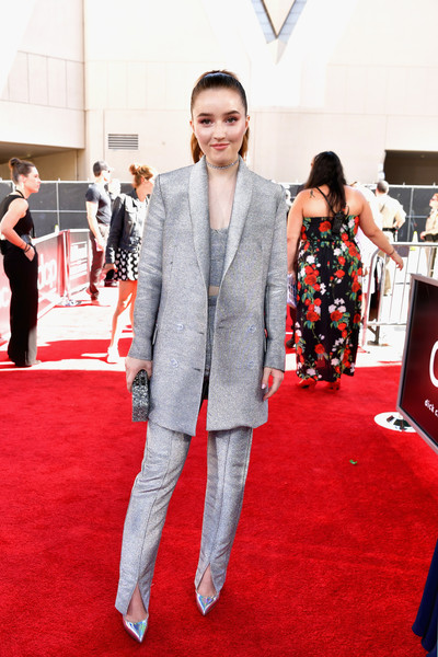 More Pics of Kaitlyn Dever Evening Pumps (1 of 2) - Heels Lookbook - StyleBistro [red carpet,red carpet,carpet,flooring,red,fashion,premiere,suit,event,outerwear,pantsuit,kaitlyn dever,billboard music awards,mgm grand garden arena,las vegas,nevada]