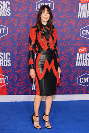 Michelle Monaghan rocked a two-tone suede and leather button-down by Dundas at the 2019 CMT Music Awards.