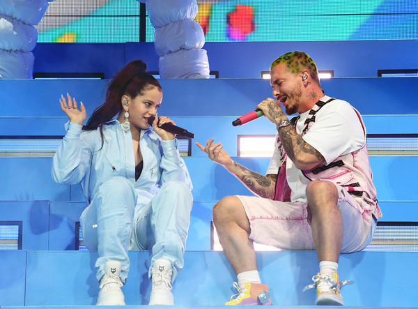 More Pics of Rosalía Jumpsuit (5 of 10) - Suits Lookbook - StyleBistro [performance,entertainment,stage,performing arts,singing,song,fun,public event,music,event,j balvin,rosal\u00e3a,coachella stage,indio,california,coachella valley music and arts festival]