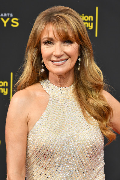 More Pics of Jane Seymour Metallic Clutch (1 of 4) - Clutches Lookbook - StyleBistro [hair,hairstyle,blond,layered hair,long hair,premiere,hair coloring,brown hair,lip,dress,arrivals,jane seymour,creative arts emmy awards,los angeles,california]