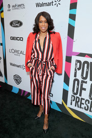 Regina King kept it casual yet smart in tricolor striped pants and a matching top by L'Agence at the 2019 Essence Black Women in Hollywood Awards.