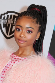 Skai Jackson sported a multi-braid ponytail at the 2019 Essence Black Women in Hollywood Awards.
