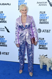 Glenn Close looked funky in a foil-like pink pantsuit by Sies Marjan at the 2019 Film Independent Spirit Awards.