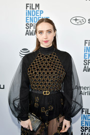 Zoe Kazan paired an embroidered leather clutch with a sheer dress, both by Dior, for the 2019 Film Independent Spirit Awards.