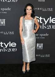 Julia Louis-Dreyfus gleamed in a fitted silver cocktail dress by Brandon Maxwell at the 2019 InStyle Awards.