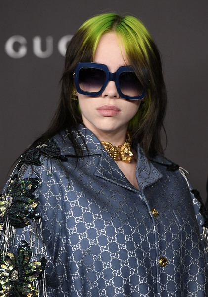 Billie Eilish rocked a chunky gold lion choker by Gucci at the 2019 LACMA Art + Film Gala.