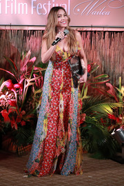 Sofia Vergara cut a colorful figure in a patchwork maxi dress by Carolina Herrera at the 2019 Maui Film Festival.