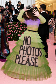 "Hailee Steinfeld looked funky in an ombre ruffle tulle gown emblazoned with the words, ""No photos please,' at the 2019 Met Gala."