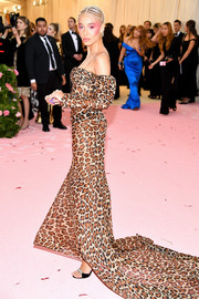 Adwoa Aboah opted for a leopard-print fishtail gown by Diane von Furstenberg when she attended the 2019 Met Gala.