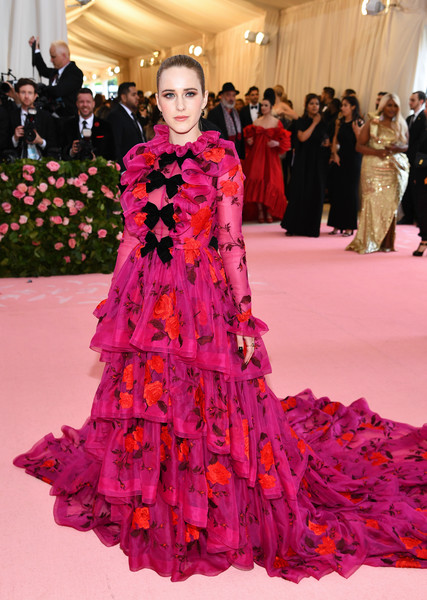 Rachel Brosnahan dolled up in a flowing floral-embroidered gown by Erdem for the 2019 Met Gala.