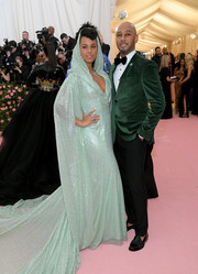 Alicia Keys looked exotic in a hooded green sequin gown by Carolina Herrera at the 2019 Met Gala.