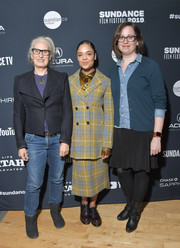 Tessa Thompson kept it modest in a plaid skirt suit at the 2019 Sundance Film Festival Cinema Cafe 8.
