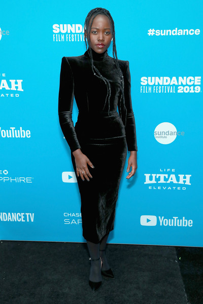 Lupita Nyong'o donned a pointy-shouldered velvet LBD by Alex Perry for the Sundance Film Festival premiere of 'Little Monsters.'