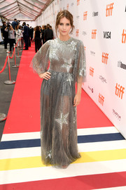 Felicity Jones looked stunning in a sheer, star-motif silver gown by Valentino at the TIFF premiere of 'The Aeronauts.'