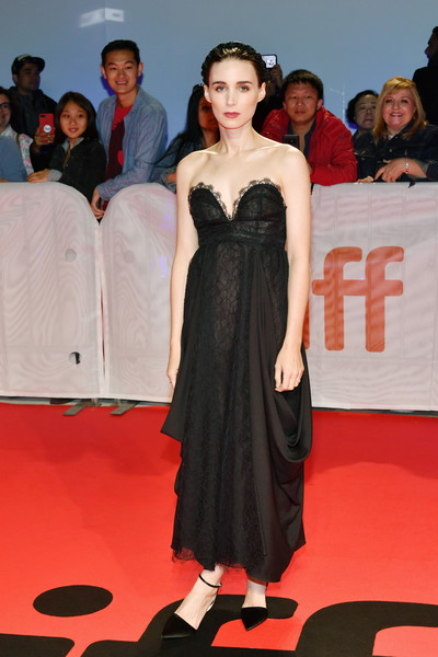 Rooney Mara looked divine in a draped, strapless black gown by Hiraeth at the TIFF premiere of 'Joker.'
