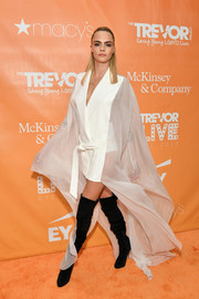 Cara Delevingne rocked a floaty, sheer-panel blazer dress by Balmain at the 2019 TrevorLIVE New York Gala.
