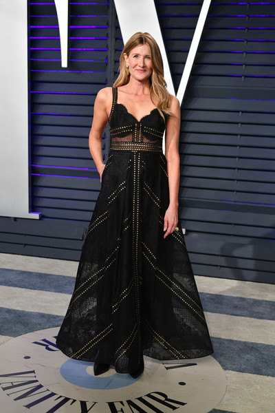 Laura Dern was edgy-glam in a studded black gown by Elie Saab at the 2019 Vanity Fair Oscar party.