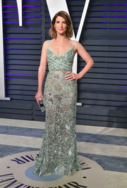 Cobie Smulders got glam in a beaded mint-green gown by Elie Saab for the 2019 Vanity Fair Oscar party.