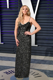 Chloe Grace Moretz was edgy-glam in a studded slip gown by Louis Vuitton at the 2019 Vanity Fair Oscar party.
