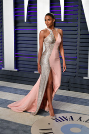 7d076acc9d7 Maternity Dress. Ciara. Ciara was a standout in an asymmetrical pink and  silver gown by Atelier Versace at the