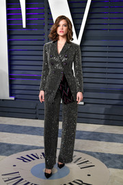 Barbara Palvin looked sassy in a beaded pantsuit by Giorgio Armani at the 2019 Vanity Fair Oscar party.
