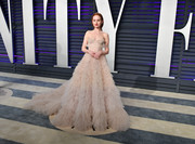 Madelaine Petsch made a head-turning entrance in a nude corset ballgown by Paolo Sebastian at the 2019 Vanity Fair Oscar party.