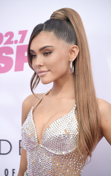 More Pics of Madison Beer Leather Sneakers (5 of 7) - Athletic Shoes Lookbook - StyleBistro [wango tango,the juv\u00e3\u2030derm\u00e2\u00ae collection of dermal fillers,hair,hairstyle,face,long hair,blond,eyebrow,beauty,chin,lip,eyelash,arrivals,iheartradio wango tango,madison beer,carson,california,dignity health sports park,iheartradio]
