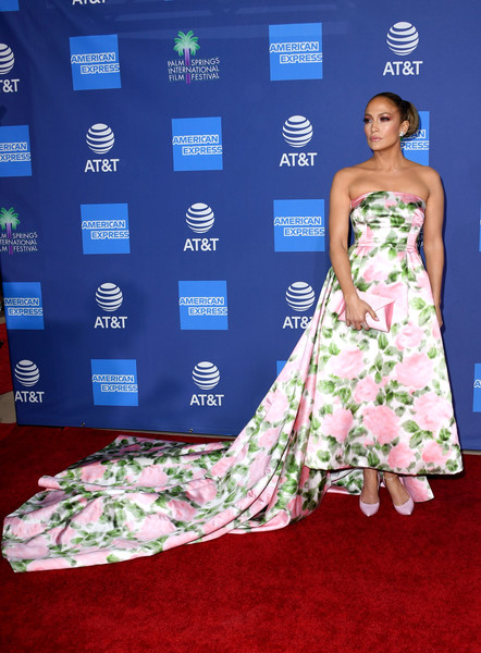 Jennifer Lopez went the ultra-sweet route in a strapless floral gown with a long train at the 2020 Palm Springs International Film Festival Awards.