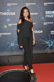 Taraji P. Henson looked sassy in a black one-shoulder top at the 2020 Breakthrough Prize.